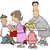 Family Grocery Shopping Together Clipart © Dennis Cox #4711