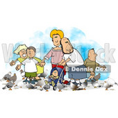 Happy Family Feeding Pigeons Clipart © Dennis Cox #4715