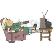 Couch Potato Man Holding the TV Remote Controller Clipart © Dennis Cox #4716