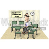 Lonely Businessman Sitting and Waiting by Himself at a Meeting Which was Scheduled for 8:00 Clipart © djart #4720