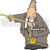 Businessman Using a Self-retracting Pocket Tape Measure Clipart © djart #4726