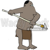 Native American Man Holding a Sharp Pointed Spear Clipart © Dennis Cox #4727