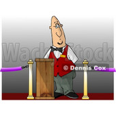 Movie Ticket Taker Standing Behind a Podium and Gate Clipart © djart #4729