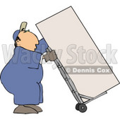 Male Mover Moving a Heavy Refrigerator/Freezer with a Dolly Clipart © Dennis Cox #4731