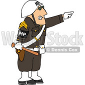 Angry Male MP Officer Directing People to Move by Pointing His Finger Clipart © djart #4733