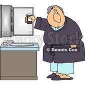 Elderly Bedtime Man with a Headache Holding a Bottle of Pain Pills Clipart © Dennis Cox #4739