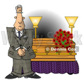 Male Funeral Director Standing Beside a Casket Clipart © djart #4741