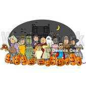 Nighttime Halloween Trick-or-Treaters Wearing Costumes  Clipart © Dennis Cox #4742