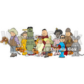 Halloween Trick-or-treaters Standing Together as a Group In Their Costumes Clipart © djart #4743