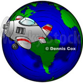 Traveling Concept of a Plane Flying Around the Globe Clipart © Dennis Cox #4752