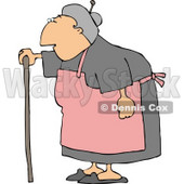 Female Senior Citizen Wearing an Apron and Using a Walking Stick Clipart © djart #4753