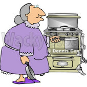 Senior Citizen Preparing to Cook a Home cooked Meal Clipart © djart #4754