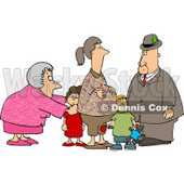 Grandma and Grandpa Standing with Grandchildren and Pregnant Daughter Clipart © Dennis Cox #4757