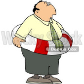 Worried Businessman Wearing a Life Preserver Float Tube Around His Waist Clipart © djart #4759