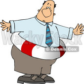 Obese Businessman Wearing a Life Preserver Clipart © djart #4763