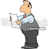 Lawyer Reading an Important Legal Document Clipart © Dennis Cox #4764