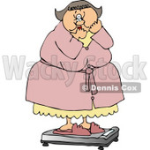 Clipart Chubby Woman Standing In Shock On The Scale - Royalty Free Illustration © djart #4768