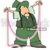 Male Irish Leprechaun Making a Rainbow Clipart © Dennis Cox #4769