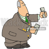 Banker Businessman Holding Cash Money in Both Hands Clipart © Dennis Cox #4770