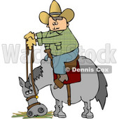 Cowboy Sitting On Horse Eating Hay Clipart © Dennis Cox #4774
