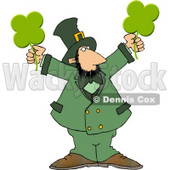Clipart Modern Stereotypical Depiction of a Leprechaun Holding Four Leaf Clovers © Dennis Cox #4776