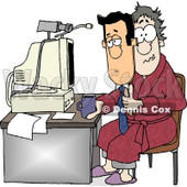 Businessman Working at His Home Office Today Clipart © Dennis Cox #4777