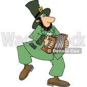 Irish Leprechaun Man Playing an Accordion Clipart © Dennis Cox #4778