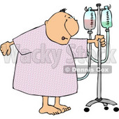 Recovering Elderly Male Patient Walking Around a Hospital with a Portable IV Drip Line Attached to Him Clipart © Dennis Cox #4779