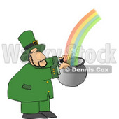 Leprechaun Catching a Rainbow in a Pot Clipart © Dennis Cox #4781