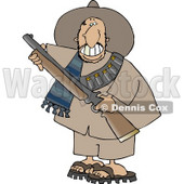 Male Mexican Bandit Carrying a Loaded Shotgun Clipart © Dennis Cox #4782