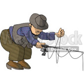 Man Fishing with a Standard Rod & Reel Clipart © Dennis Cox #4783