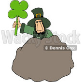Leprechaun Standing Behind a Bolder with a Four Leaf Clover Leaf Clipart © Dennis Cox #4785