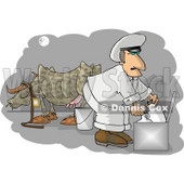 Milkman Gathering Fresh Milk From a Cow on a Farm Clipart © Dennis Cox #4786