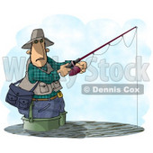Man Fishing In a Lake with a Standard Rod and Reel Fishing Pole Clipart © Dennis Cox #4788