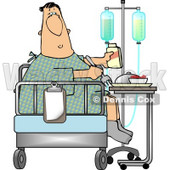 Recovering Sick Patient Eating Lunch On the Bed of his Hospital Room Clipart © Dennis Cox #4790