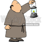 Monk Walking Around with a Lit Lantern During the Night Clipart © djart #4793