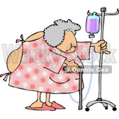 Obese Elderly Woman Walking Around with a Cane While Attached to a Portable Intravenous Drip Line Clipart © Dennis Cox #4794
