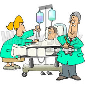 Nurse and Doctor Caring for a Hospitalized Man Attached to an IV Fluid Drip Line Clipart © Dennis Cox #4796