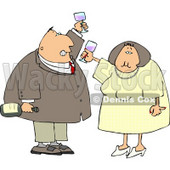 Man and Woman at a Party Drinking Wine While Celebrating New Years Holiday Clipart © Dennis Cox #4798