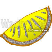 Clipart Of Bling-bling Metal Fruit Lemon Slice/Wedge © djart #4801