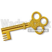 Decorative Ancient Gold Skeleton Key Clipart © djart #4805