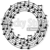 Ring or Circle of Musical Notes Clipart © djart #4807