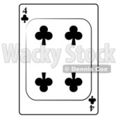 Four/4 of Clubs Playing Card Clipart © djart #4816