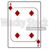 Four/4 of Diamonds Playing Card Clipart © djart #4818