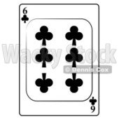 Six/6 of Clubs Playing Card Clipart © djart #4819