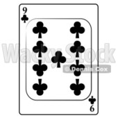Nine/9 of Clubs Playing Card Clipart © djart #4821