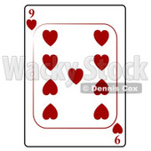 Nine/9 of Hearts Playing Card Clipart © djart #4823