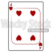 Four/4 of Hearts Playing Card Clipart © djart #4824