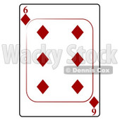 Six/6 of Diamonds Playing Card Clipart © djart #4829