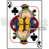 Q/Queen of Clubs Playing Card Clipart © djart #4830